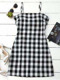 31f96a18702 Mini summer dress with plaid print