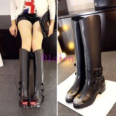 01 Womens Knee High The Boots Buckle Knight Winter Riding Combat Shoes Hot Snow