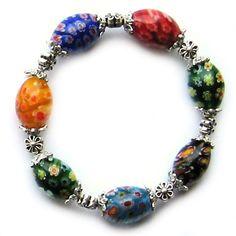 Armband mit zarten Millefiori-Blumen (Armbänder) von basteltreff #162778