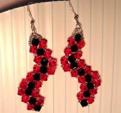 Swarovski Red Black Sterling Silver Earrings by TheBeadedPathway, $26.00