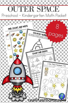 Free Space Preschool and Kindergarten Math Worksheets working on counting writing numbers graphing one-to-one correspondence number words and Space Theme Preschool, Space Activities For Kids, Math Activities, Preschool Activities, Planets Preschool, Solar System Activities, Preschool Learning, Toddler Preschool, Free Kindergarten Worksheets