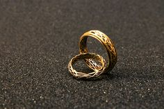IamGitelman Custom Made White and Yellow Gold Wedding Rings! (The husband ring spins!!!)