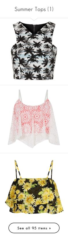 """""""Summer Tops (1)"""" by lullabycake ❤ liked on Polyvore featuring tops, crop tops, shirts, topshop, blue, sleeve less shirts, sleeveless tops, palm print top, blue top and crop top"""