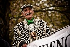 A Pearly King.  Taken at the Lord Mayor's Show parade on Victoria Embankment, London.