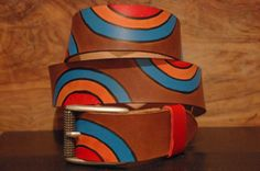 Colors Leather Belt Pop  Size  Belt Buckle Old by CUERO925LEATHER, €25.00