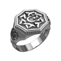 Islam Symbol Star and Crescent Moon Ring Sterling Silver 925