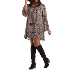Plus Size Boho Print Shift Dress