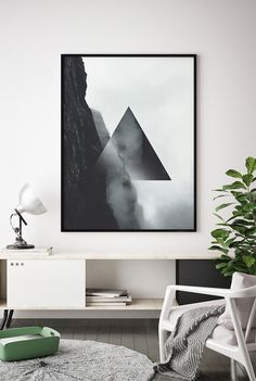 Black and White Geometric Wall Art, Black and White Minimal Printable, Black and White Abstract Printable, Abstract Triangle Poster, Modern