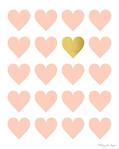 Lot of Pink Hearts and One Gold Heart Digital by PennyJaneDesign