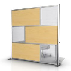 """75"""" wide x 75"""" high Room Divider, Maple Wood Grain & Translucent Frosted Hammered"""