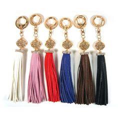 Rhinestone Rose Flower Leather Tassel Key Chain Ring Holder Bag Charm Accessory #Jacc