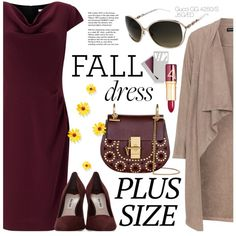 Fall Look: Plus Size Dresses by smartbuyglasses-uk on Polyvore featuring Jacques Vert, Manon Baptiste, Miu Miu, Chloé, Wander Beauty, Kjaer Weis, Gucci, Tiffany & Co., dress and gucciglasses