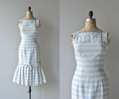 Deauville dress  vintage 1950s dress  striped cotton by DearGolden, $158.00
