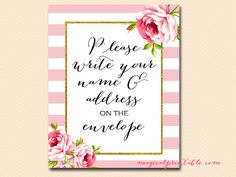 """Cute sign to frame for guests to write their name and addresses on thank you cards.  """"Write your name and address on envelope sign by MagicalPrintable"""""""