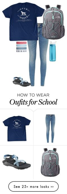 """""""school tomorrow"""" by sassy-and-southern on Polyvore featuring Burberry, Chaco, Accessorize, The North Face and CamelBak"""