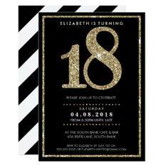 3e63b5c485c2 18th birthday party invitation at zazzle.com Guld Glitter