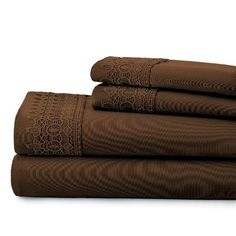 August Grove Easter 4 Piece Sheet Set with Lace Size: Queen, Color: Chocolate Brown