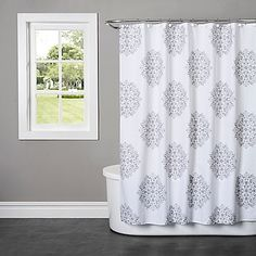 Complete your bathroom with the sophistication of the Benito Jacquard Shower Curtain. The elegant detailing brings functional beauty into your home. This shower curtain is 100% cotton with a simple damask motif in light grey on a white background.