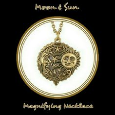 """🆕  MOON & SUN ANTQ MAGNFY GLSS NKLC 🆕 MOON & SUN ANTIQUE MAGNIFYING GLASS NECKLACE Zinc Alloy Material Hypo-Allergenic Magnetic Closing 22"""" Total Necklace Great for yourself or as a gift for 💜💜MOTHERS DAY!💜💜 Jewelry Necklaces"""