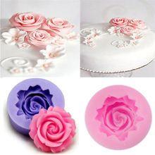 2015 New Rose Flower DIY 3D Fondant Cake Chocolate Sugarcraft Mold Silicone Tools HOT(China (Mainland))