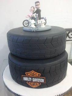 Bolo Harley Davidson #cake #pneu #moto #HarleyDavidson #aniversario