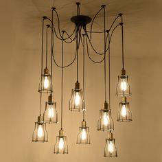 One combo 10 light 6W Edison E27 lamp and iron lampshade retro spider pendant light decorative loft American style free EXPRESS #Affiliate