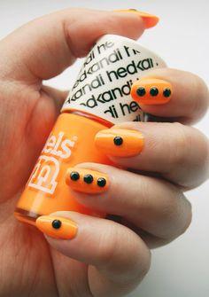 Neon Orange with Black Rhinestone Nails