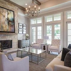 Above The Coffee Table Chandelier, Transitional, Living Room