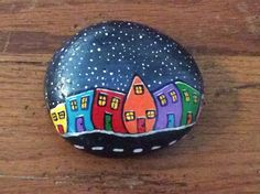 Painted rock, acrylic, Jellybean Row, Newfoundland, hand painted, night sky. Pebble Painting, Pebble Art, Stone Painting, House Painting, Rock Painting, Homeade Gifts, Homemade, Beach Rock Art, Painted Mailboxes