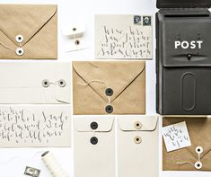 DIY Button and String Envelopes by Erica Loesing for Design*Sponge #diy #paper #stationery #envelopes