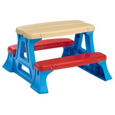 Sturdy play table by American Plastic Toys lets little minds run wildPicnic table is great fun for indoor or outdoor playPlay table is easy to assemble using included carriage bolts and lock nuts