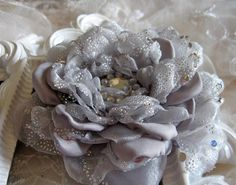 Organza and Silk Flower Brooch Pin Hairclip Bridal by krantwist, $22.99