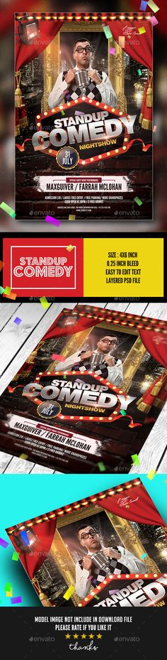Stand Up Comedy Show Flyer Template  Flyer Template Template And