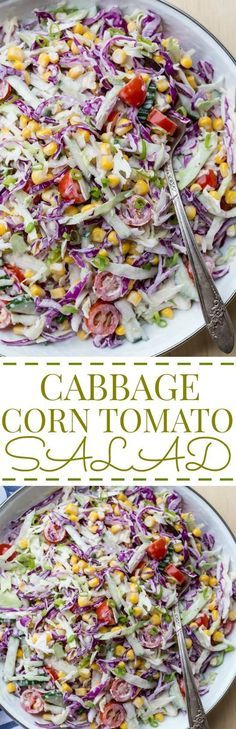 Cabbage Corn Cucumber and Tomato Salad