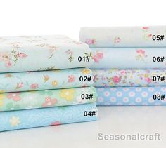 Flower Fabric Aqua Blue Flower Fabric,Shabby Chic Flower Fabric, Aqua Blue Floral Cotton Fabric 1/2 Yard (QT665)