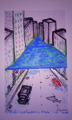 7-18-2015 Rising sea levels . Ocean reclaiming a city. Buildings cars shark fish