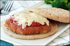 Hungry Girl recipe for guilt-free Chicken Parm sandwich. Pin NOW!