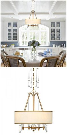 Drum Shape Brass & Crystal Chandelier with Fabric Shade