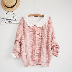 Rosy Pink Sweater ♥ Cream Collar