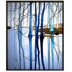 """Through the Mist"" stained glass panel by Anne Ryan Miller Glass Studio"