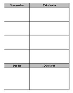 Note Taking Templates  Microsoft Word Note Taking Template