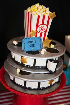 Film reel cake at a Hollywood movie birthday party! See more party ideas at CatchMyParty.com!