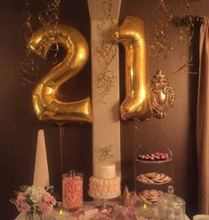 21 Birthday Balloons Themes 21st Gold Number 16th