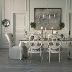 Neutral interiors. Ethan Allen dining room. Country French dining rooms.