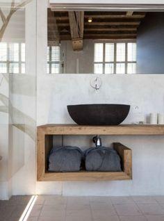 Mensola in legno massello piano lavabo 140x45x45