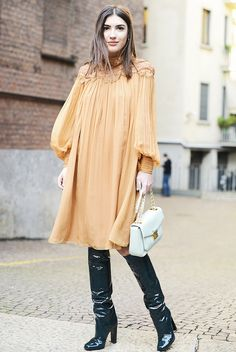 Gold dress with lace details + knee-high patent leather boots