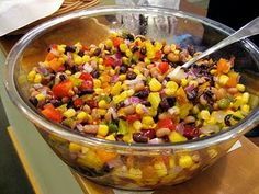 Mexican Caviar... sooo yummy and soo easy!! I had this at a party and just made my own batch and it's delicious! Here is my recipe although I didn't use any peppers (for those picky eaters) I added avocado which is a MUST and a can of drained tomatos.