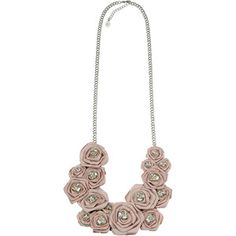 Crystal and fabric rose necklace