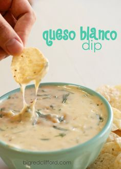 The best queso blanco dip recipe    ****NEEDS:  3/4 cup half and half {or milk, if you don't have it}, 1 pound (16 oz.) white American cheese, 4 oz. Pepper Jack or Monterrey Jack cheese & 2 cups fresh baby spinach.
