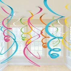 HANGING SWIRLS PARTY DECORATION (12pk) - Blue, Pink, White, Multi Coloured | eBay